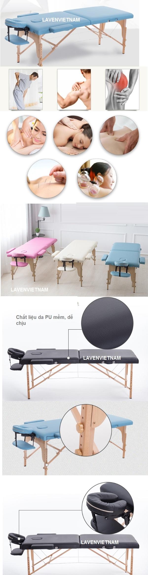 Giường gấp massage xoa bóp bấm huyệt dạng vali chân gỗ