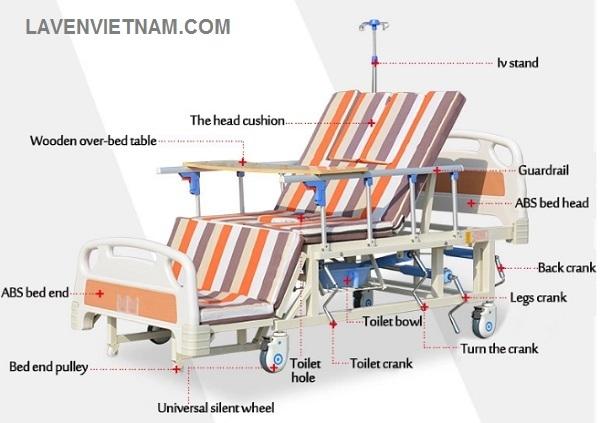 Giường bệnh nhân 5 tay quay đa năng có bô G5
