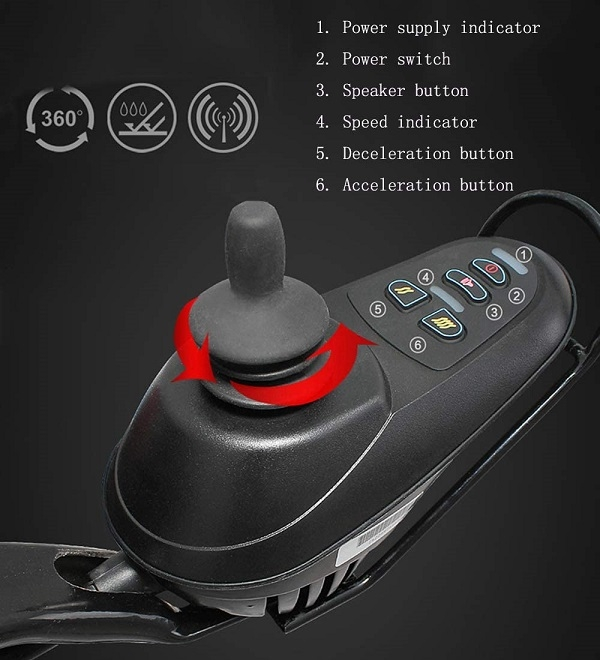 Bảng điều khiển của xe lăn điện giúp người yếu tay dễ dàng chỉnh bằng 2 ngón