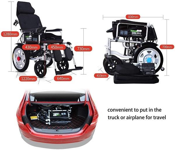 Xe lăn điện Tajermy XD05 có ngả nằm Dễ dàng gấp gọn để trong cốp xe ô tô