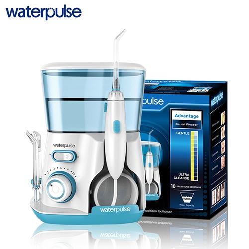 Máy tăm nước gia đình Waterpulse V300 với công nghệ siêu âm và áp lực nước cao giúp làm sạch mảng bám và thức ăn trên răng