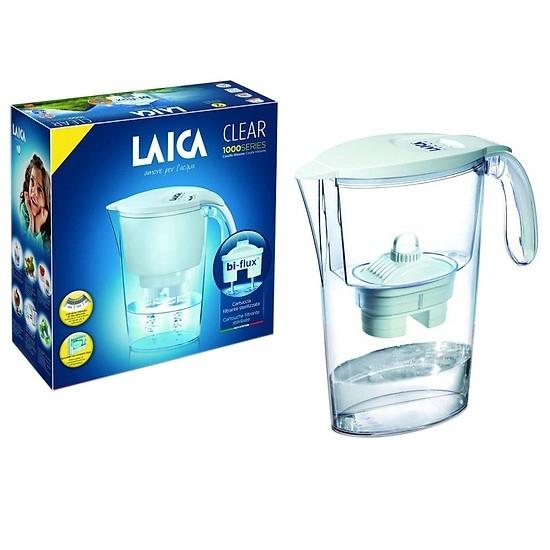 Bình lọc nước Laica Seri 1000 được làm bằng nhựa cao cấp, an toàn vệ sinh thực phẩm, dung tích tổng thể 2.25 lít, dung tích nước lọc 1.2 lít.