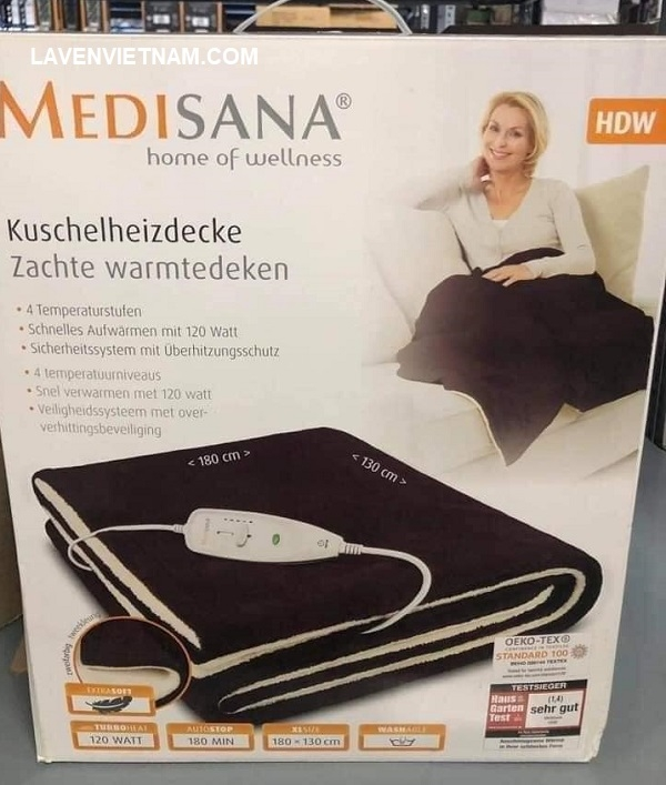 Chăn điện Medisana HDW được sử dụng đơn giản, không tốn nhiều điện như đèn sưởi hay quạt sưởi, làm ấm nhẹ nhàng.