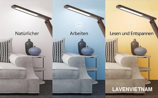 Đèn bàn có thể điều chỉnh độ sáng với 3 chế độ ánh sáng và 5 mức độ sáng