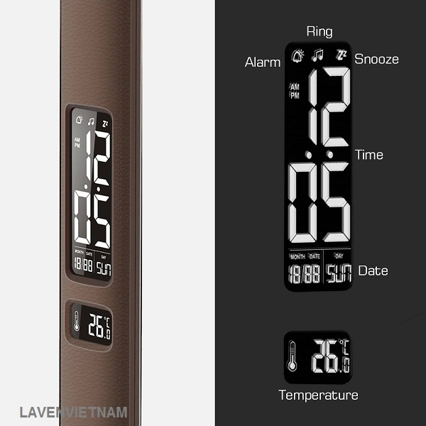 Màn hình HD-VA có thể điều chỉnh độ sáng, hiển thị thời gian, nhiệt độ và ngày