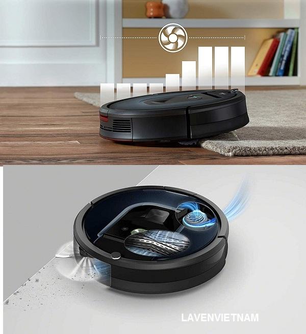 Robot hút bụi iRobot Roomba 981 có sức hút không khí nâng lên tới 10X cùng với bộ hút điện cho hiệu quả hút sạch ưu việt hơn, đồng thời giảm đáng kể độ ồn khi robot làm việc