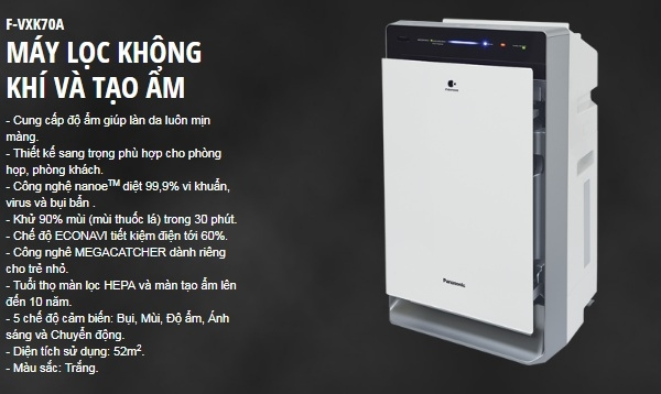 Máy lọc không khí có tạo ẩm Panasonic F-VXK70A