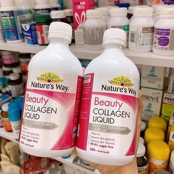 Nước Collagen Nature's Way Beauty Collagen Liquid - chai 500ml. Với sự kết hợp collagen, dầu hạt nho và vitamin E.